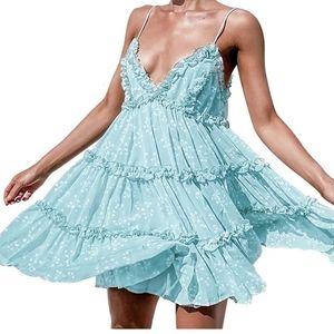 Summer dress Floral Mini Dress ruffle backless